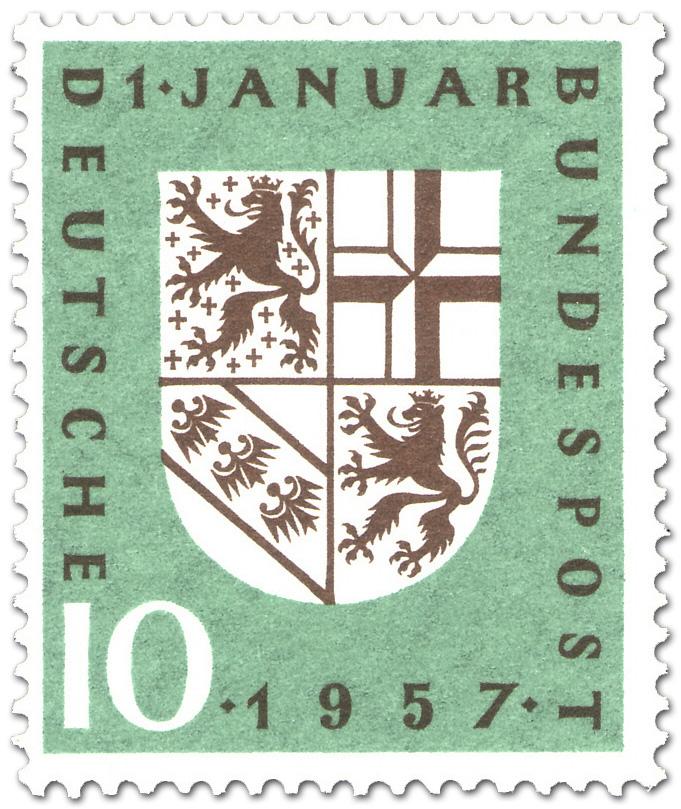 Wappen Des Saarlandes Eingliederung Briefmarke 1957
