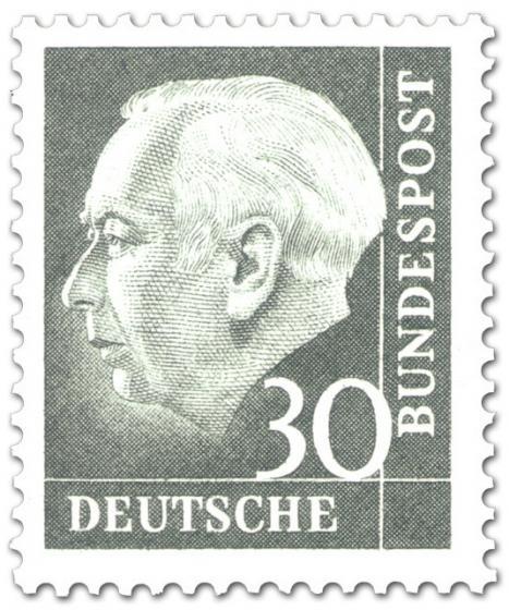 Briefmarke: Bundespräsident Theodor Heuss 30 (grau)