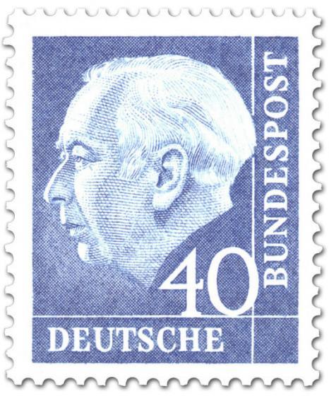 Briefmarke: Bundespräsident Theodor Heuss 40 (blau)