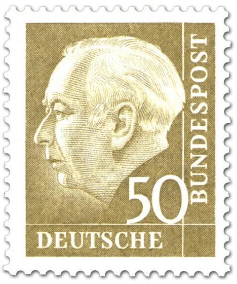 Briefmarke: Bundespräsident Theodor Heuss 50 (gelb)