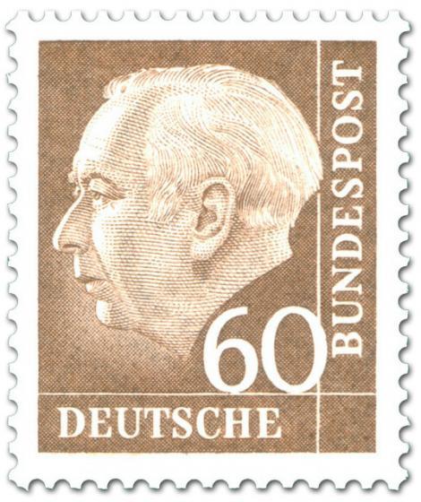 Briefmarke: Bundespräsident Theodor Heuss 60 (braun)