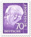 Briefmarke: Bundespräsident Theodor Heuss 70 (lila)