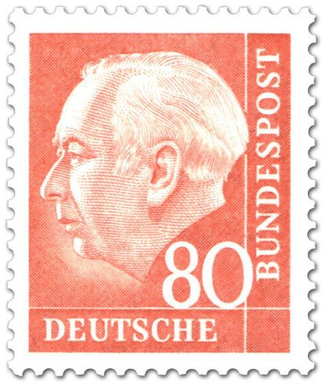 Briefmarke: Bundespräsident Theodor Heuss 80 (orange)