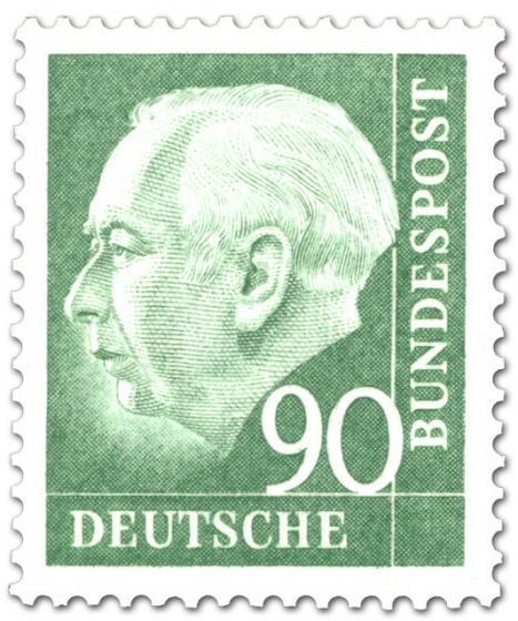 Briefmarke: Bundespräsident Theodor Heuss 90 (grün)