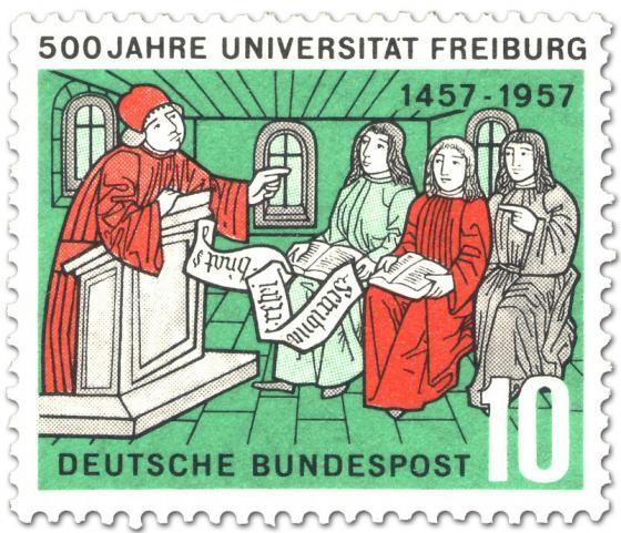 Briefmarke: 500 Jahre Universität Freiburg (Dozent mit Studenten)