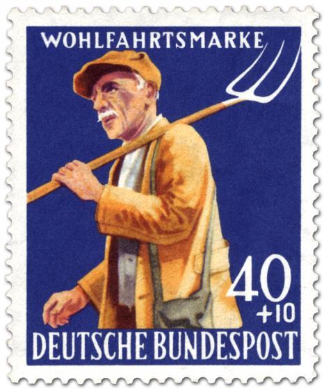 Briefmarke: Bauer mit Heugabel