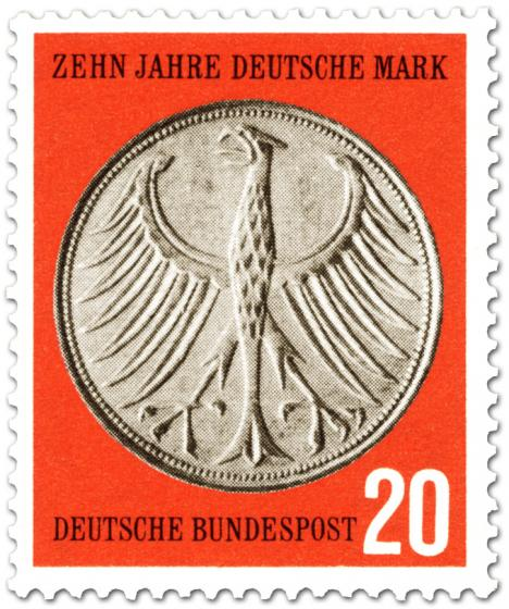 Briefmarke: Bundesadler Geldmünze (5 D-Mark)