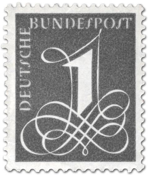 Briefmarke: Deutsche Bundespost 1 1958