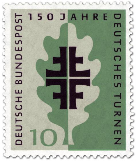 Briefmarke: Eichenblatt und Turnerkreuz (150 Jahre Deutsche Turnerbewegung)
