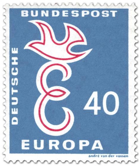 Briefmarke: Europamarke 1958: Taube auf Buchtsabe E