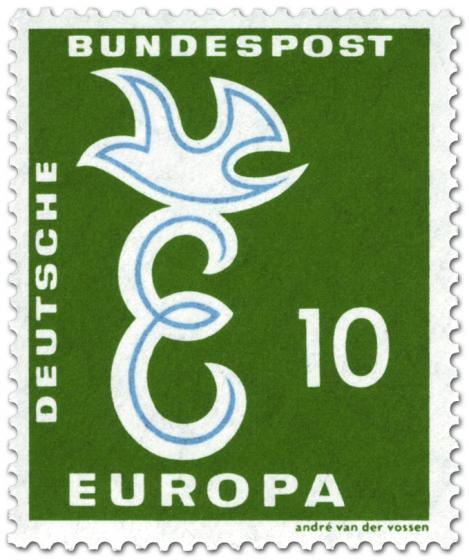 Briefmarke: Europamarke 1958: Taube auf Buchstabe E