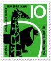 Briefmarke: Giraffe und Löwe (100 Jahre Zoo Frankfurt)
