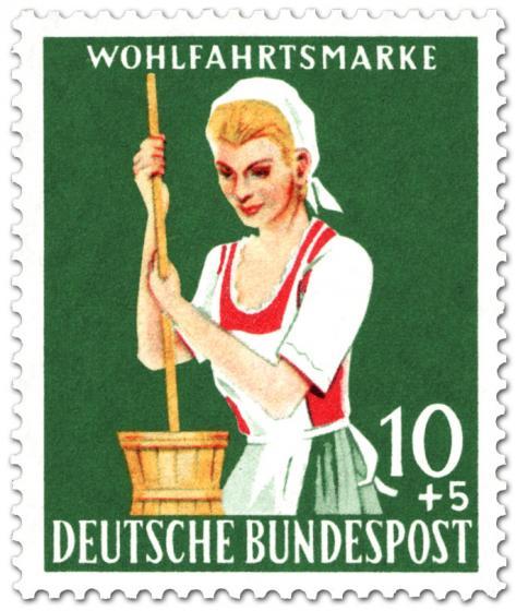 Briefmarke: Sennerin mit Butterfass