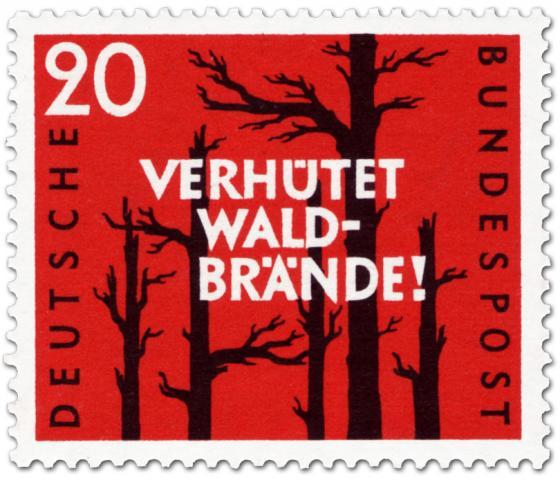 Briefmarke: Verhütet Waldbrände (verbrannte Bäume)
