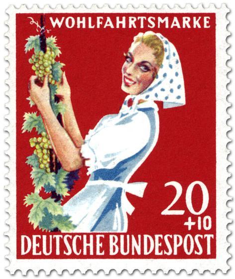 Briefmarke: Winzerin mit Weinrebe (Weinlese)