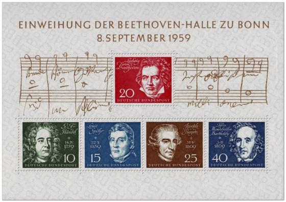 Briefmarke: Einweihung der Beethoven-Halle zu Bonn (Beethovenblock)