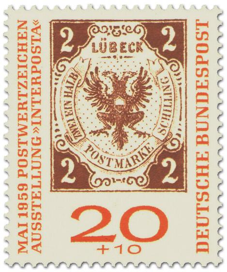 Briefmarke: Lübecker Zwei-Schilling-Briefmarke (Interposta 1959)