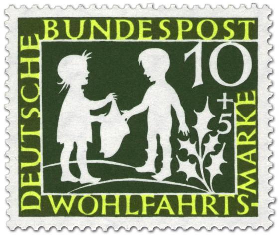 Briefmarke: Sterntaler: Mädchen und Junge (Grimms Märchen)