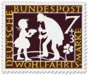 Briefmarke: Sterntaler: Mädchen und alter Mann (Grimms Märchen)