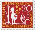 Briefmarke: Sterntaler: Mädchen fängt Sterne auf (Grimms Märchen)