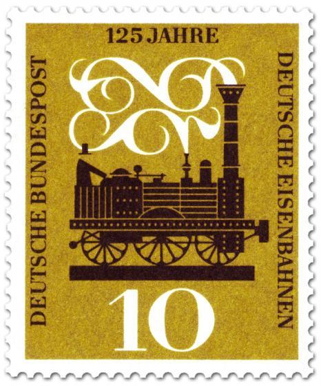 Briefmarke: 125 Jahre Deutsche Eisenbahn (Adler Dampflok)