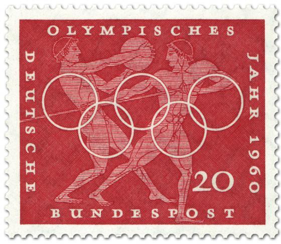 Briefmarke: Diskuswerfen und Speerwerfen (Olympisches Jahr 1960)