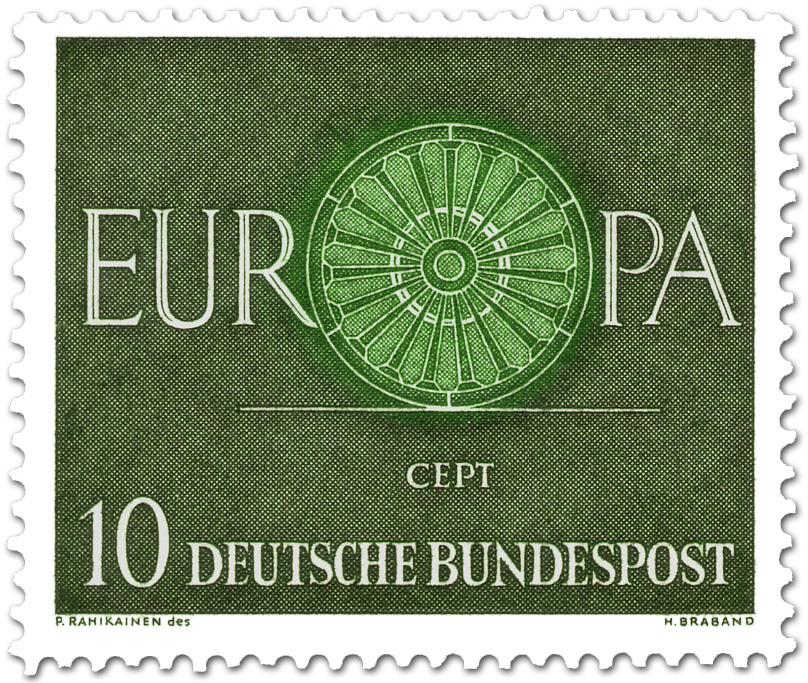 Europamarke 1960 Wagenrad 10 Briefmarke 1960