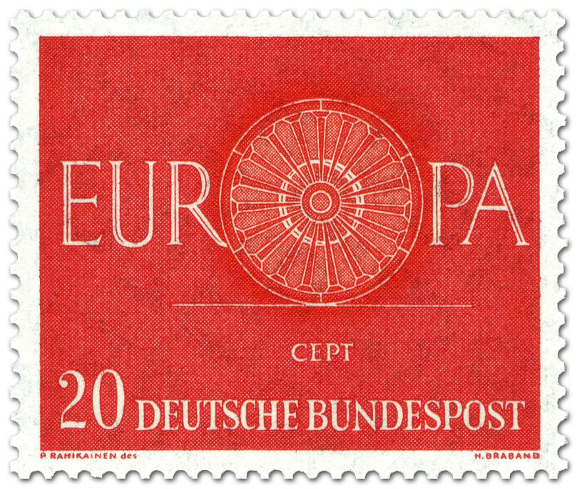 Europamarke 1960 Wagenrad 20 Briefmarke 1960