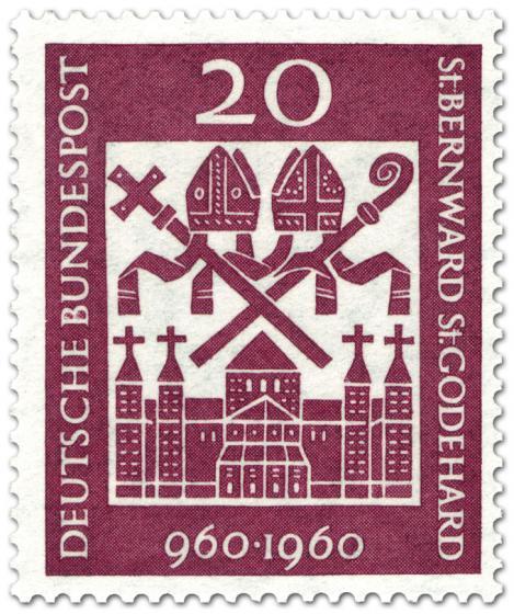 Briefmarke: Hlg. Bernward und Godehard (Bischöfe), Michaeliskirche Hildesheim