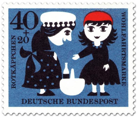 Briefmarke: Rotkäppchen gibt der Großmutter den Korb (mit Flasche)