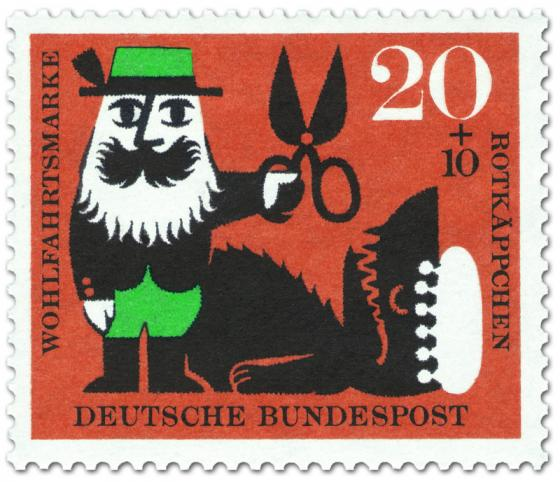 Briefmarke: Rotkäppchen: Jäger mit Schere beim Wolf