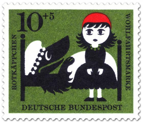 Briefmarke: Rotkäppchen beim Wolf (als Großmutter verkleidet im Bett)