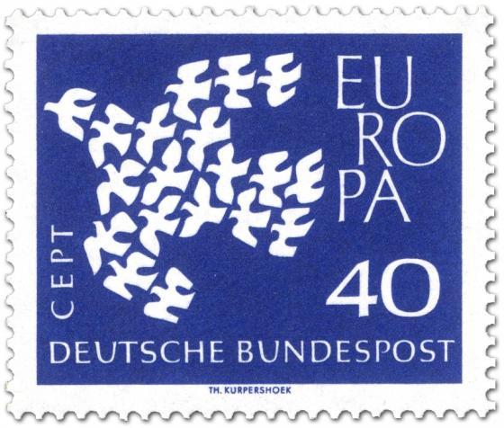 Briefmarke: Europamarke 1961: Taube aus Tauben