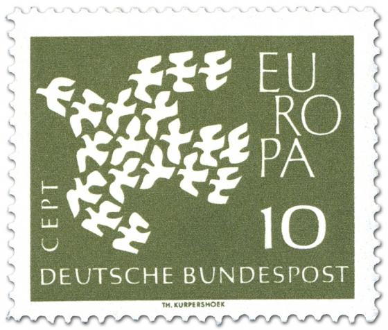 Briefmarke: Europamarke 1961 (Taube aus Tauben)