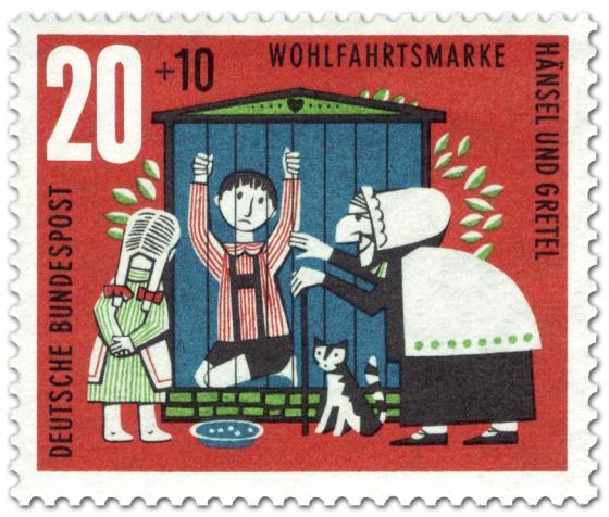 Briefmarke: Hänsel und Gretel: Im Käfig der Hexe