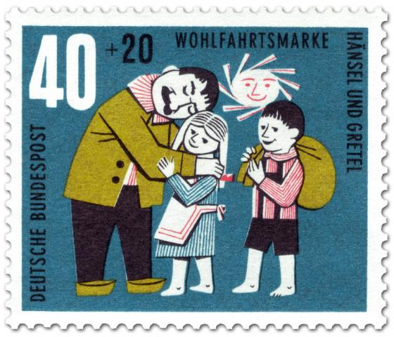 Briefmarke: Hänsel und Gretel glücklich beim Vater