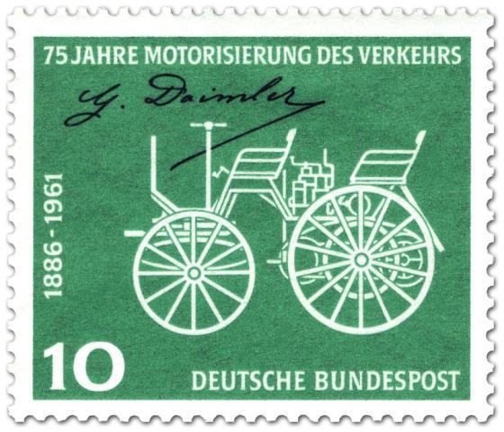 Briefmarke: Motorwagen von Gottlieb Daimler (Motorisierung des Verkehrs)