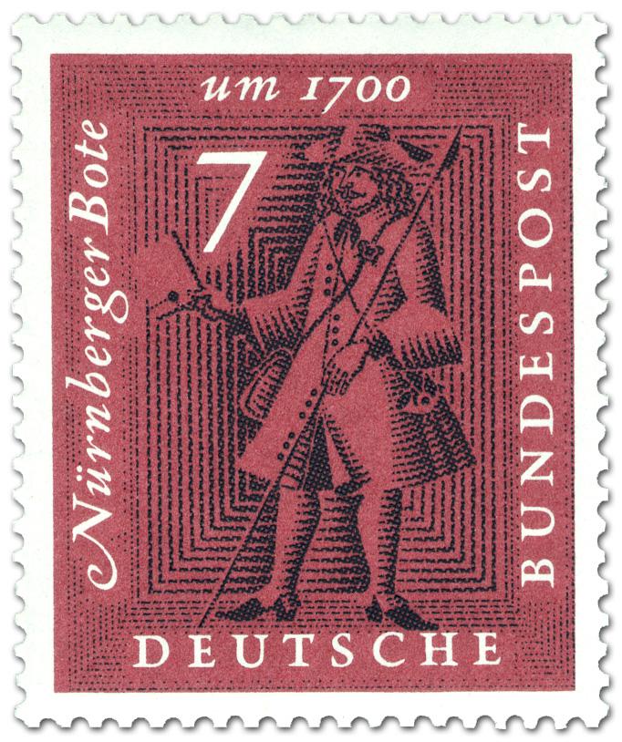 Nürnberger Bote Postbote Mit Brief Briefmarke 1961