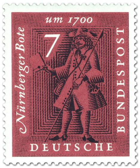 Briefmarke: Nürnberger Bote (Postbote mit Brief)