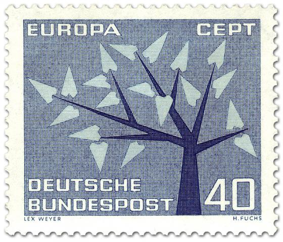Briefmarke: Baum mit 19 Blätter - Europamarke 1962