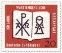 Briefmarke: Bibel, Kelch, Christusmonogramm (Württembergische Bibelanstalt)