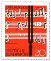 Briefmarke: Noten und Stimmgabel (Lied und Chor)