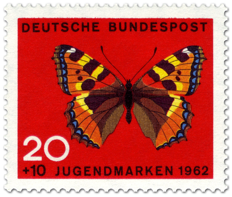 schmetterling kleiner fuchs aglais urticae briefmarke 1962. Black Bedroom Furniture Sets. Home Design Ideas