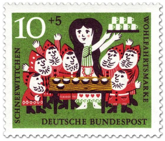 Briefmarke: Schneewittchen und die sieben Zwerge