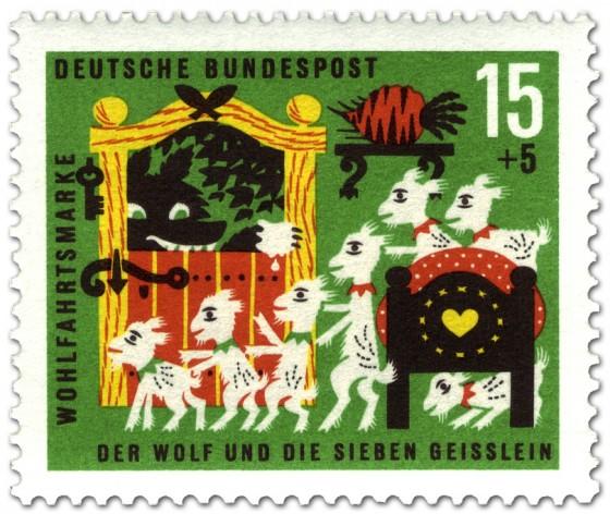 Briefmarke: Der Wolf und die sieben Geißlein