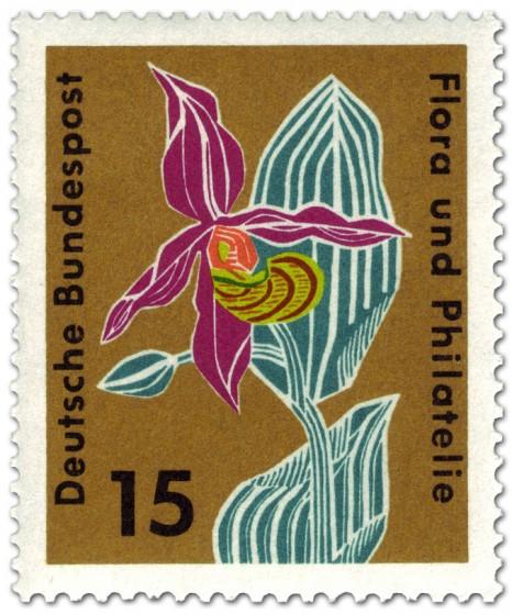 Briefmarke: Gelber Frauenschuh (cypripedium calceolosus orchidaceae)
