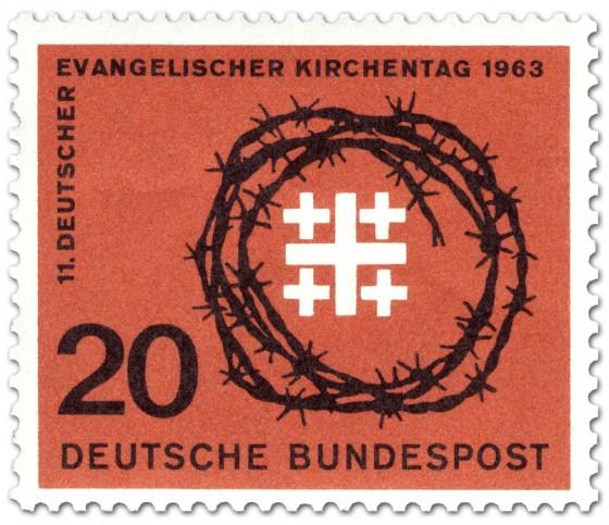 Briefmarke: Jerusalemkreuz und Dornenkrone (Evangelischer Kirchentag)