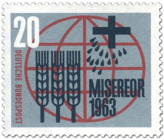 Briefmarke: Misereor (Ähren, Kreuz und Tropfen vor Weltkugel)