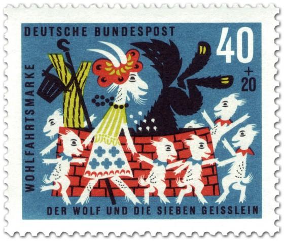 Briefmarke: Die sieben Geißlein tanzen um den Brunnen
