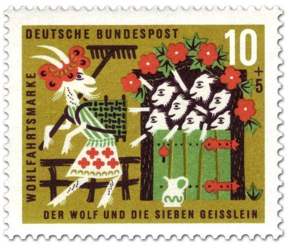 Briefmarke: Die sieben Geißlein winken der Ziegenmama